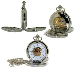 Skeleton Hand Wind Double Hunter Pocket Watch